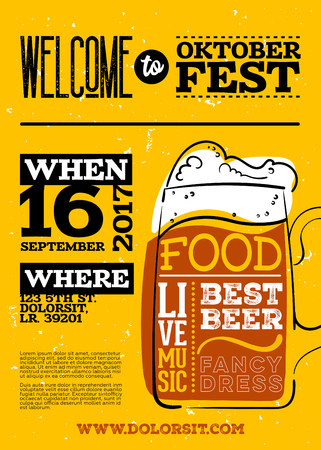 Welcome to Oktoberfest Poster. Vertical or Portrait Orientation. Vector Hand Drawn Beer Mug with Lettering on Yellow Old Grunge Retro Texture. Placard for Bavarian Event, Fest, Flyer. Octoberfest Design. Illustration