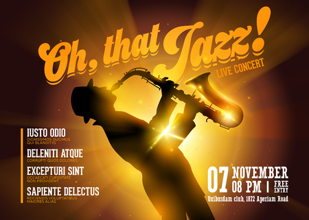 Vector Jazz Horizontal Poster. Silhouette of Saxophone Player against a Stage Gold Neon Light. Live Jazz Performance. Music Poster Template for Concert, Night Club, Festival, Flyer, Ticket. Illustration