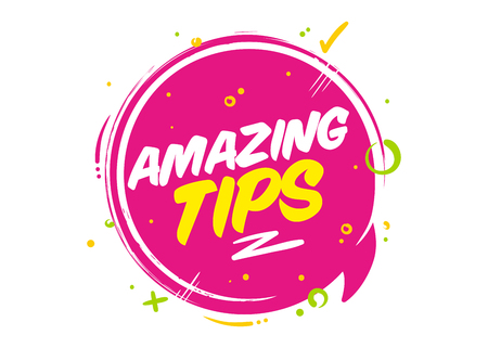 Amazing tips vector pink bubble on white background. Rounded icon with typography and geometric elements for post or article about interesting facts or life hacks.