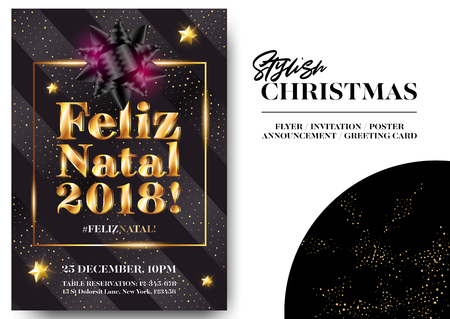 Feliz Natal 2018! Merry Christmas in Portuguese. Stylish Black Greeting Card Design. Vector Elegant Invitation Template. Xmas Celebration. Dark Background with Shining Text and Gold Glitter Stripes.