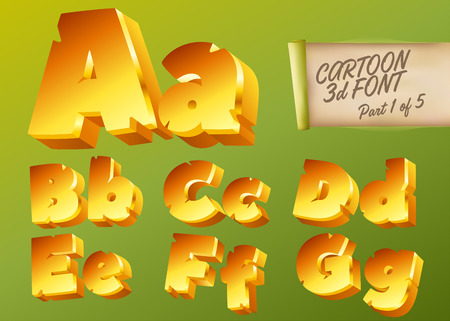 Vector 3D Gold Font in Cartoon Style. Comic Yellow Isometric Typeset for Children's Playground, Mobile Game App, Poster, Banner. Funny and Cute English Alphabet Illustration. Colorful Type. Illustration