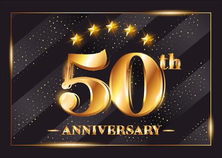 50 Years Anniversary Celebration Vector Logotype. 50th Anniversary Gold Badge with Glitter. Luxury Shiny Design for Greeting Card, Invitation, Congratulation Card. Isolated on Black Background.