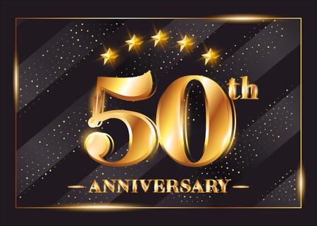 Logotype de vecteur de célébration d'anniversaire de 50 ans. Insigne en or avec paillettes 50e anniversaire. Design brillant de luxe pour carte de voeux, invitation, carte de félicitations. Isolé sur fond noir. Logo