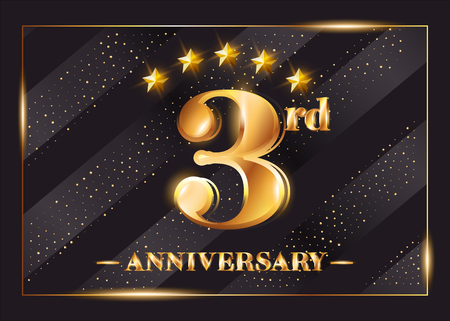 1 year anniversary celebration vector logo. 1st anniversary gold
