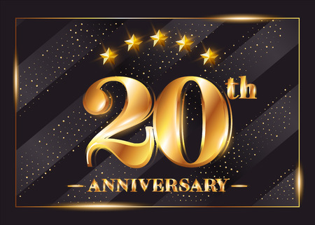 20th Anniversary Gold Icon with Stars and Frame, Luxury Shiny Design for Greeting Cards.