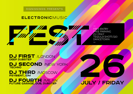 Bright Music Poster for Festival. Electronic Music Cover for Summer Fest or Club Party Flyer. Colorful Green Background with Trendy Geometric Shapes. Creative Design for Event Invitation.