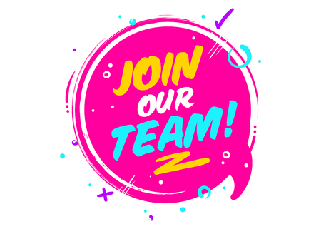 Join Our Team phrase on pink Rounded Sign with Geometric Elements.