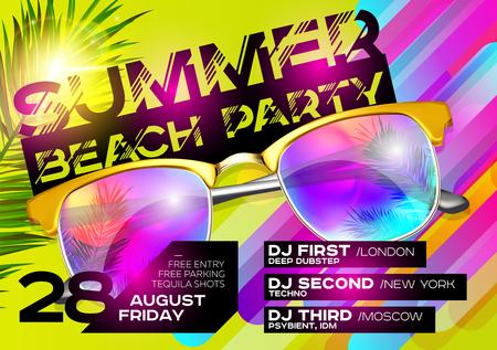 Summer Beach Party Poster for Music Festival design illustration.
