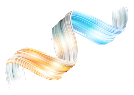 Vector 3D Paint Curl. Abstract Spiral Brush Stroke. Flowing Ribbon Shape. Digital Liquid Ink. Dynamic Artistic Wave. Isolated Background Design. Acrylic Splash Ribbon. Calligraphic Brushstroke Loop.