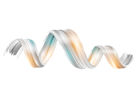 Vector 3D Paint Curl. Abstract Spiral Brush Stroke. Isolated Background Design. Vettoriali