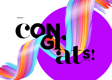 Congrats Vector Card. Congratulations Graduates 2018 Logo. Creative Ultraviolet Background Design for Certificate, Award Banner, Poster, Invitation, Banner. Congratulations Message for Achievement.
