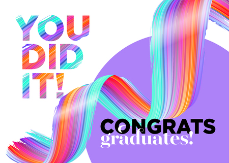 You Did It Congratulations Graduates Class of 2018 Vector Logo. Creative Party Invitation, Poster, Card. Background Design with Typography and Bright Ink Spiral. Label for College Graduation Ceremony. Illusztráció