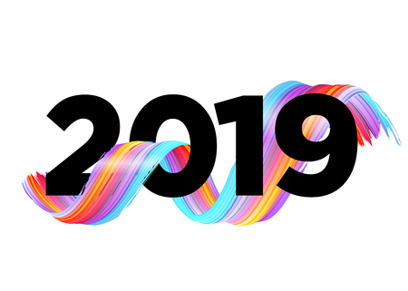 2019 Happy New Year Logo Design. Vector Background with Abstract Splash Shape. Colorful Illustration for 2019 Calendar, Poster, Greeting Card. Christmas Celebration. Acrylic Paint Xmas Design Element.