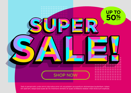 Weekend Super Sale Vector Banner. Bright Colorful Special Offer Concept. Trendy Geometric Background. 3D Mosaic Style. Vibrant Sale Poster Template. Discount Symbol. Summer Promotion. Special Deal.