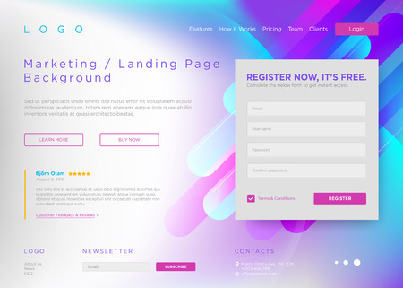 Vector Landing Page Background. Marketing Minimal Backdrop Design. Abstract Geometric Liquid Shapes. Page Template for Conference, Online Courses, Master Class, Webinar, Business Event Announcement.