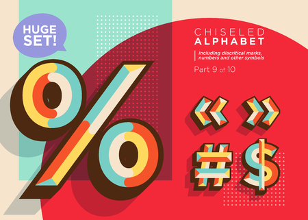 Vector Mosaic Typeset. Textured Geometric Type. Trendy Retro Typography for DJ Music Poster, Club Flyer, Fest Invitation, Game Design. Old Vintage Alphabet. Colorful Hipster Background. Funky Font. Çizim