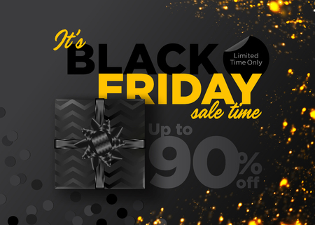 Black Friday Sale Vector Background. Business Promotion Banner with Special Offer Tag. Discount Label. Christmas Shopping Season. Black Friday Deal. Weekend Sale. Promo Teaser. Elegant Gift Voucher. Çizim