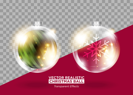 Christmas Tree Decoration. Vector Xmas Bauble. Set of Isolated Round Glass Balls. Transparent Glow Effect. Realistic 3D Toys for Christmas Card Design, Festive Poster, New Years Eve Party Invitation.
