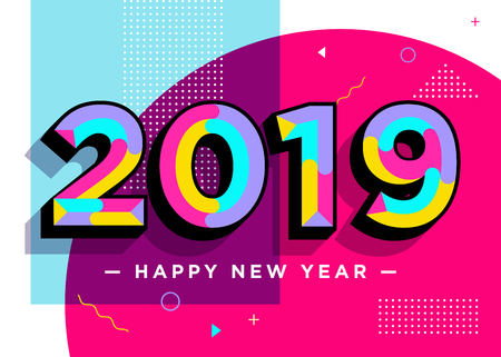 2019 Happy New Year Vector Card. Textured Numbers. Trendy Typography with Geometric Hipster Pattern in Memphis Style. Creative 2019 Logo Design. Colorful Xmas Background. Festive Christmas Banner. Çizim