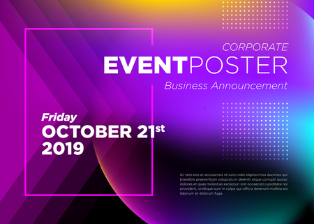 Abstract Vector Dynamic Background. Futuristic Poster for Corporate Meeting, Online Courses, Master Class, Webinar, Business Event Announcement, Seminar, Presentation, Lecture, Business Convention. Иллюстрация