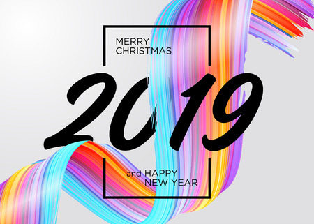 2019 Merry Christmas and Happy New Year Card Design. Vector Background with Acrylic Paint Design Element. Colorful Oil Brush Stroke Texture. Abstract Liquid Brushstroke. Çizim