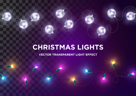 Vector Vintage Christmas Lights. Set of Multi-Colored Xmas Lights. Silver LED Glass Garland, Luxury Design Element for Greeting Card, Holiday Party Invitation, Anniversary Flyer. Festive Background.