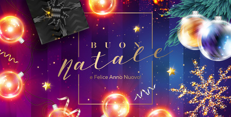 Buon Natale e Felice Anno Nuovo Vector Card. Merry Christmas and Happy New Year in Italian. Xmas Poster Template with Frame, Black Gift Box, Ribbon, Christmas Lights, Golden Glittering Star. Çizim