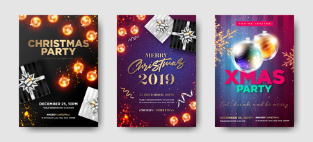 Set of Christmas Party 2019 Invitations. Winter Composition with Christmas Lights, Greeting Text, Gift Box, Golden Glittering Star, Foil Tinsel, Vintage Garland. Luxury Template Design. Xmas Banner. Illustration