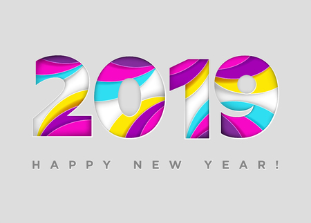 2019 Happy New Year Vector Card. Paper Cut Textured Numbers. Trendy Typography with Geometric Hipster Pattern. Creative 2019 Logo Design. Colorful Xmas Background. Festive Christmas Banner. Ilustração