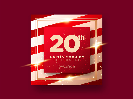20 Years Anniversary Celebration Vector Card. 20th Anniversary Luxury Background. Elegant Layout for Greeting Card, Party Invitation. Design Template for Congratulations.