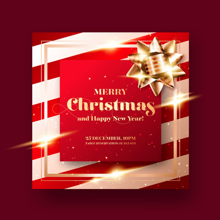 Merry Christmas and Happy New Year 2019 Greeting Card Background. Minimalist Xmas Poster Design. Graphic Template for Social Media. Christmas Party Invitation. Strict, Luxury, Elegant, Modern Style.