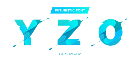 Vector Clean, Stylish Typeface with Patterned Letters. Perfect for Monogram Logo Design. Beautiful Font for Title and Headline. Trendy Glitch Style with Liquid Flow Effect. Modern Futuristic Typeset.
