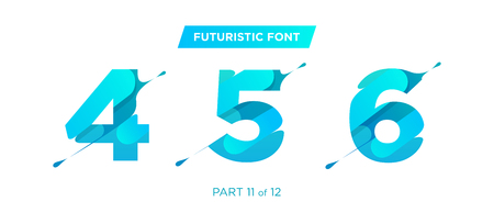 Vector Unique Futuristic Numbers. Decorative Headline Typeface. Trendy Paper Cut Style. Clean Geometric Shape. Gradient Font for Advertising, Unique Marketing Materials, Creative Promotion Poster. Ilustração