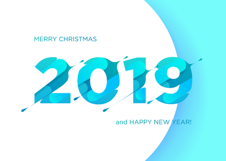 2019 Vector Numbers. Merry Christmas and Happy New Year Background. Calendar Cover Design. Modern Symbol with Textured Letters for Poster, Flyer, Brochure. Geometric Cutout Style. Illustration