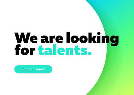 We are Looking for Talents Vector Background. Trendy Bold Black Typography. Job Vacancy Card Design. Join Our Team Minimalist Poster Template, Hiring Advertising, Open Recruitment Creative Ad.