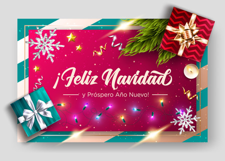 Feliz Navidad y prospero Ano Nuevo. Merry Christmas and Happy New Year in Spanish. Vector Greeting Card Template. Holiday Composition, Top View.  Festive Xmas Poster. Illustration