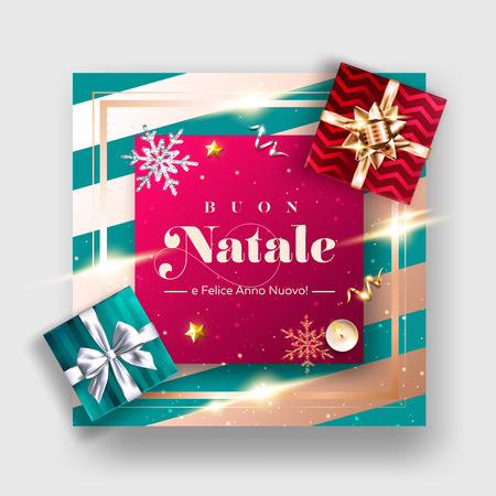 Buon Natale e Felice Anno Nuovo Vector Background. Merry Christmas and Happy New Year in Italian. Xmas Poster Template with Gift Box, Ribbon Bow, Candle, Silver Star. Holiday Composition, Top View.