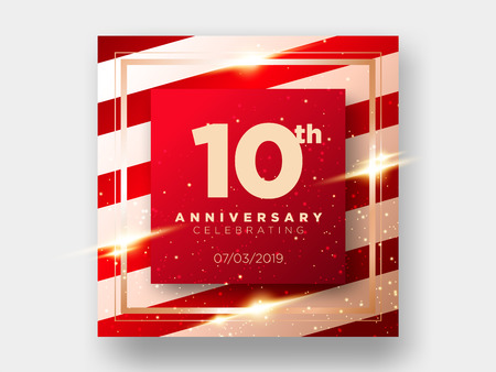 10 Years Anniversary Celebration Vector Card. 10th Anniversary Luxury Background. Elegant Layout for Greeting Card, Party Invitation. Design Template for Congratulations.