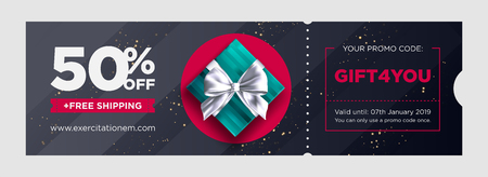 Vector Birthday Gift Coupon. Elegant Christmas Voucher Design. Premium eGift Card Background for E-commerce, Online Shopping. Marketing Business Flyer Template Design, Social Media Graphic. Illustration