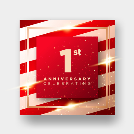 1 Year Anniversary Celebration Vector Card. 1st Anniversary Luxury Background. Elegant Layout for Greeting Card, Party Invitation. Design Template for Congratulations.