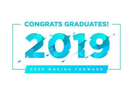 Congratulations Graduates Vector Logo. Graduation Background Template with Inspirational Quote. Greeting Banner for College Graduation Ceremony.
