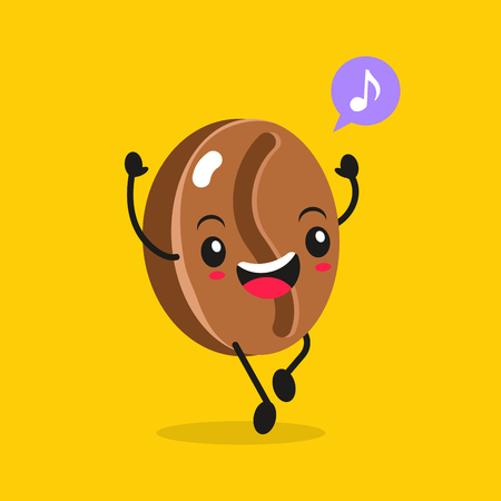 Kawaii Food. Vector Cartoon Coffee Bean. Happy Funny Asian Character for Restaurant Advertising, Fast Food Sale Banner, Coffee Shop Promotion. Cute Chinese Hand Drawn Face. Ilustração
