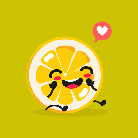 Kawaii Food. Vector Cartoon Lemon. Happy Funny Asian Character for Children's Restaurant Menu, Fast Food Sale Banner, Cafe Promotion, Educational Flash Cards for Kids. Cute Chinese Hand Drawn Face. Çizim