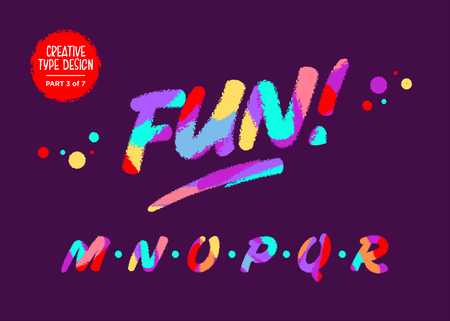 Vector Colourful Typography. Type Design in Cartoon Style. Funny Textured Typeface. Cute Hand Drawn Font with Wax Crayon Effect. Font for Birthday Card, Summer Poster, Music Festival Party Invitation.