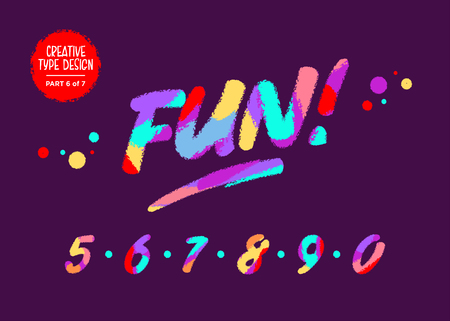 Vector Colourful Numbers. Kids Font in Cartoon Style. Funny Textured Digits. Cute Children Handwritten Font with Wax Crayon Effect for Birthday Card, Game Design, Toy Shop, Party Invitation.