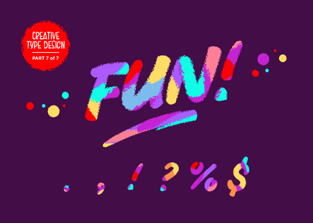 Vector Colourful Typeset. Kids Font in Cartoon Style. Funny Textured Design. Cute Children Handwritten Font with Wax Crayon Effect for Birthday Card, Game Design, Toy Shop, Party Invitation.