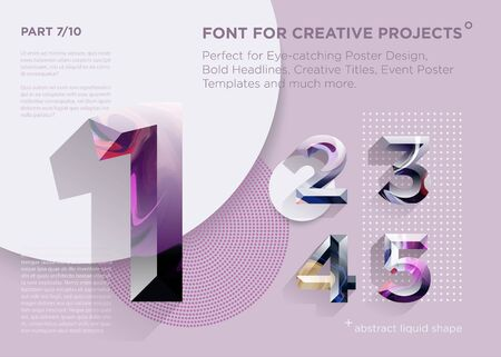 Simple Abstract Geometric Font. Perfect for Bold Headlines, Poster Designs, Creative Titles, Event Poster Template. Clean, Modern and Futuristic Typeface with Liquid Paint Pattern. Vibrant Typography.