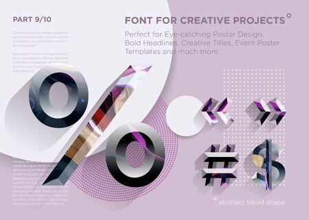 Simple Abstract Geometric Font. Perfect for Bold Headlines, Poster Designs, Creative Titles, Event Poster Template. Clean, Modern and Futuristic Typeface with Liquid Paint Pattern. Vibrant Typography.  Illustration