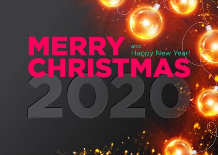 Christmas 2020 Vector Background Design. Happy New Year 2020 Luxury Greeting Card. Elegant Festive Xmas Poster Template with Christmas Lights and Gold Glitter Texture. Winter Holiday Season. Illustration