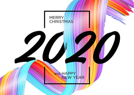 2020 Happy New Year Background Design. Vector Greeting Card with Abstract Gradient Brushstroke. Colorful Illustration for 2020 Christmas Calendar, Poster, Social Media Template. Xmas Design Element. Ilustração